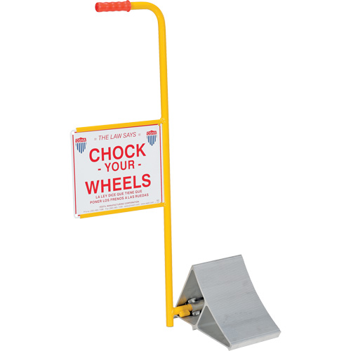 Wheel Chock with Handle & Sign