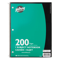 "CAHIER DE NOTES,SPIRALE,LIGNE,9""X6"",200PAGES     OTF623 